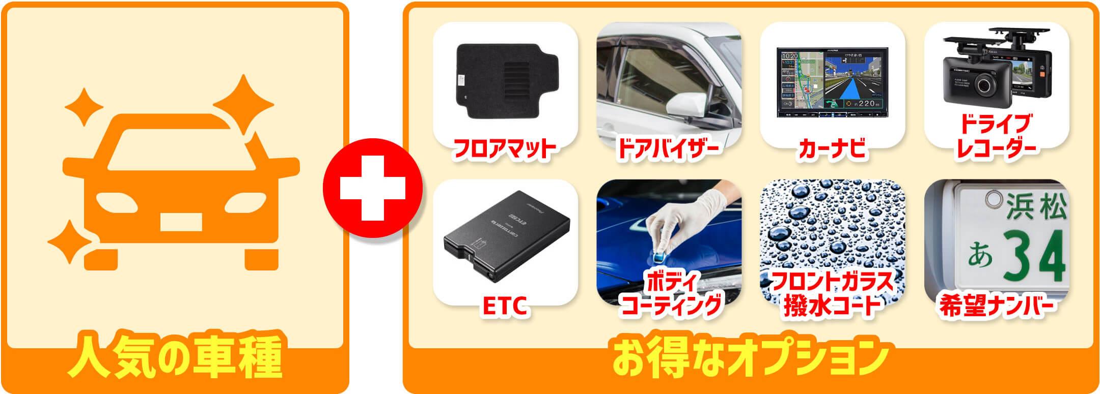 人気の車種+お得なオプション フロアマット ドアバイザー カーナビ ドライブレコーダー ETC ボディコーティング フロントガラス撥水コート 希望ナンバー